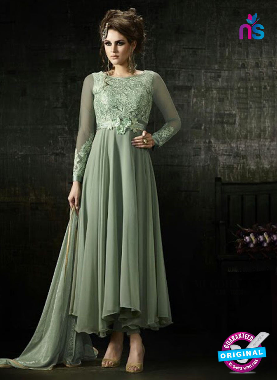 mugdha 10038 green net and georgette anarkali suit