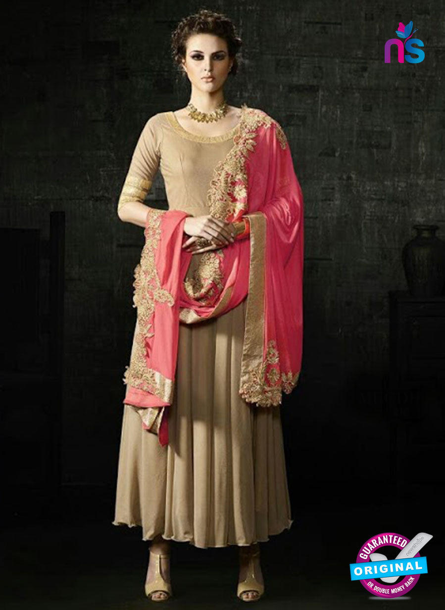 Brown Lycra Anarkali Suit