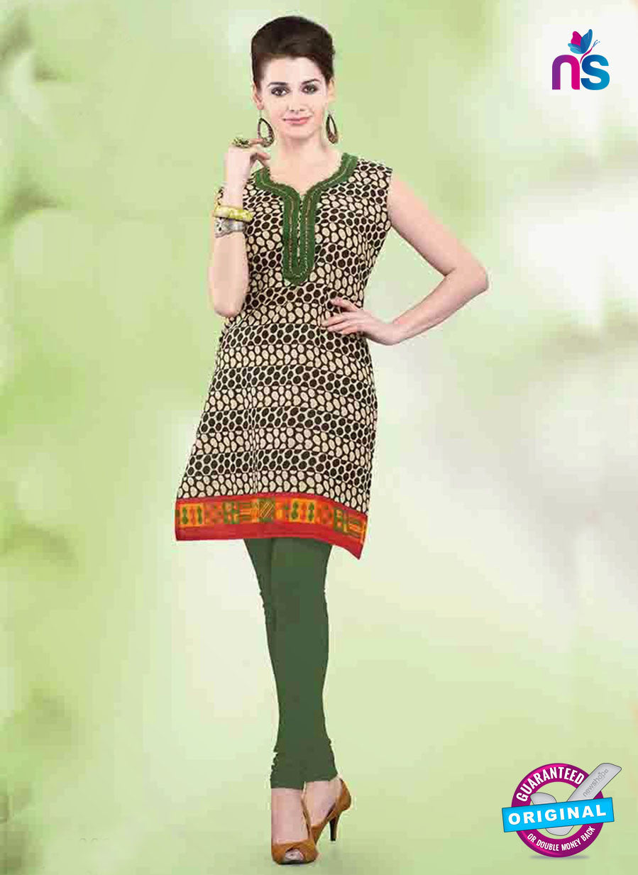 NS11150 A Tan Black and Green Designer Cotton Kurti