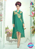 SC 13000 Sea Green Embroidered Georgette Party Wear Kurti