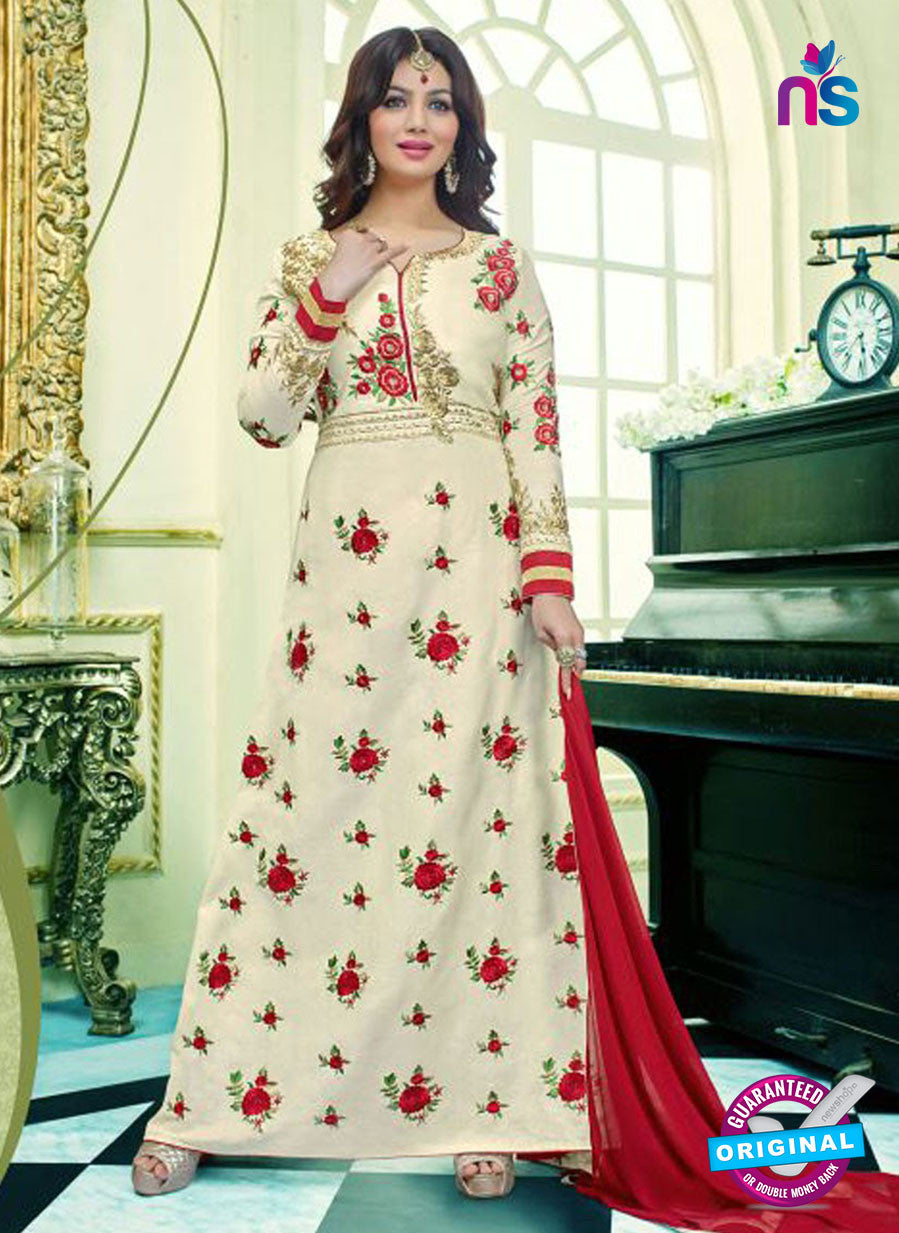 SC 13103 Beige and Red Glace Cotton Party Wear Semi-stitched Designer Gawn