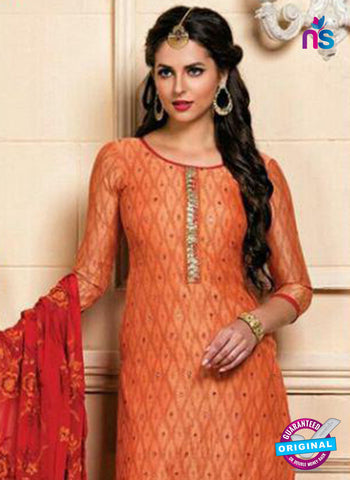 orange Chanderi Straight Suit Online