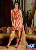 SC 13437 Brown and Red Embroidered Georgette  Designer Exclusive Traditional Fancy Suit