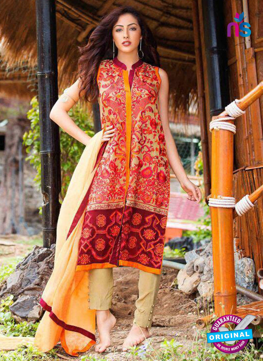 SC 13590 Red and Beige Embroidered Georgette Designer Fancy Pakistani Salwar Suit