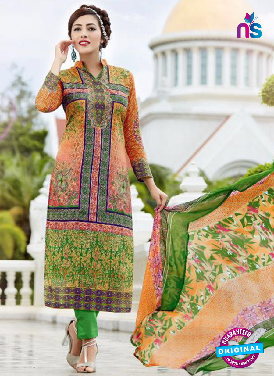 SC 13642 Multicolor and Green Printed Glace Satin Cotton Designer Fancy Ethnic Exclusive Salwar Straight Suit