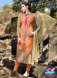 SC 12919 Orange and Brown Faux Georgette Party Wear Straight Suit