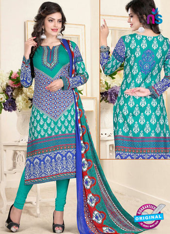 SC 13021 Blue and Sea Green Printed Cambic Pakistani Suit