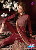 NS10956 Maroon and Beige Cotton Party Wear Straight Suit Online