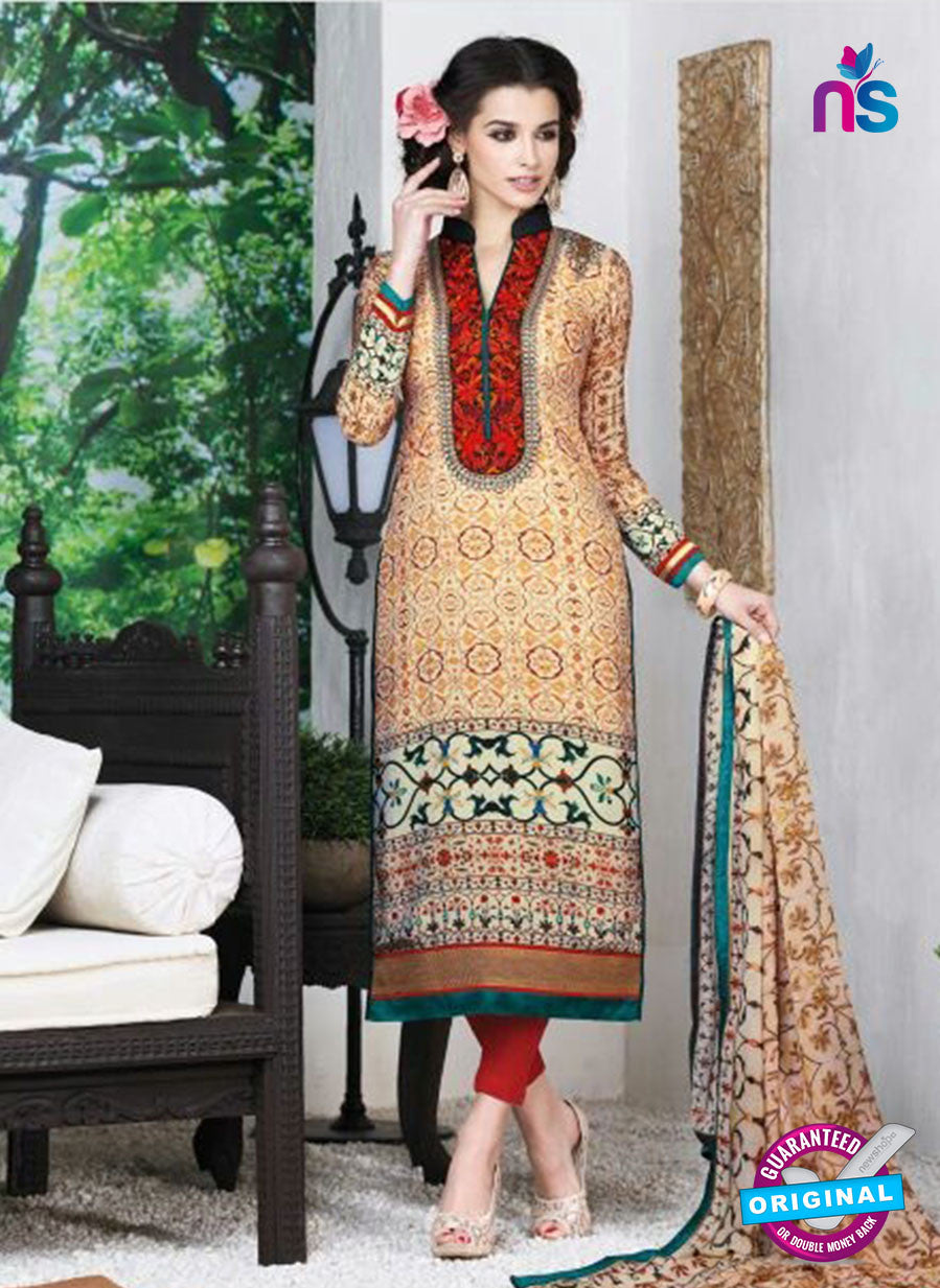 AZ 3491 Beige French Crepe Embroidery Formal Suit - Salwar Suits - NEW SHOP