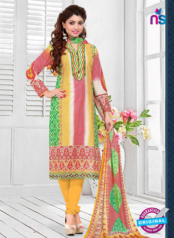 SC 12771 Multiolor and Yellow Embroidered Pure Cambric Cotton Suit