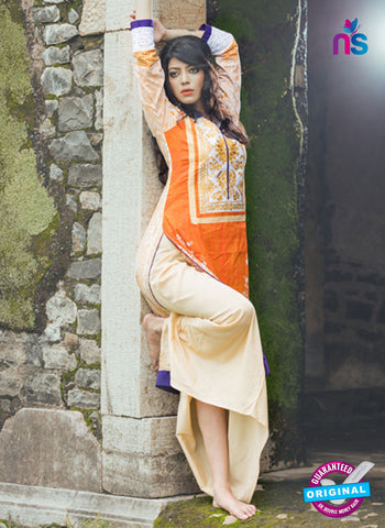 SC 13335 Beige and Orange Cotton Lawn Kurti