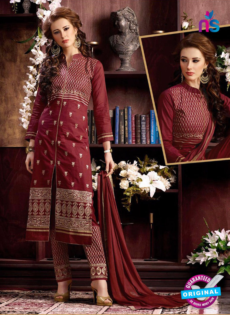 NS10956 Maroon and Beige Cotton Party Wear Straight Suit