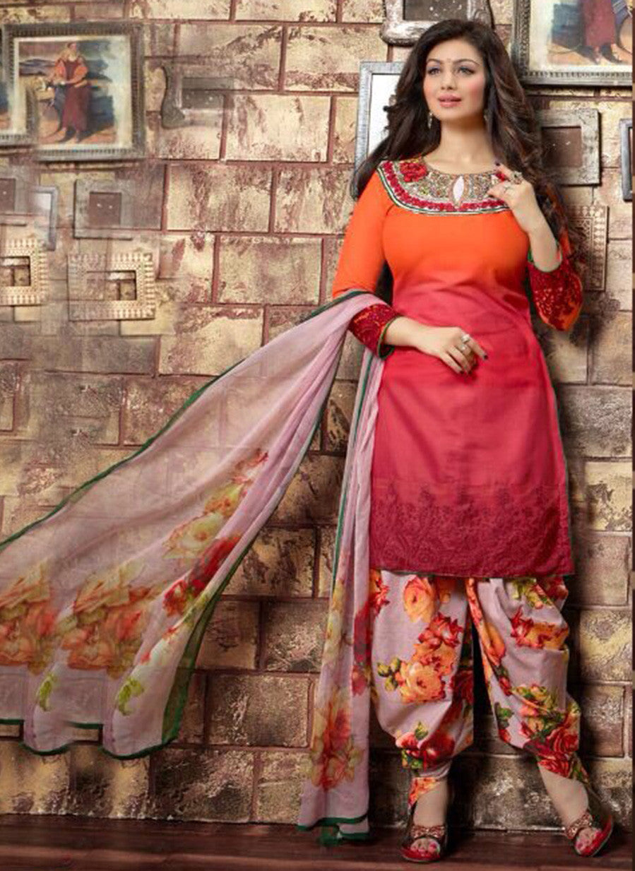 Deepsy 1003  Red & Grey Color Glace Cotton Designer Suit