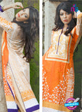 SC 13335 Beige and Orange Cotton Lawn Kurti Online