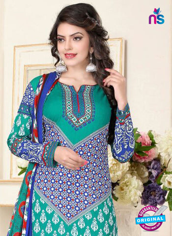 SC 13021 Blue and Sea Green Printed Cambic Pakistani Suit Online