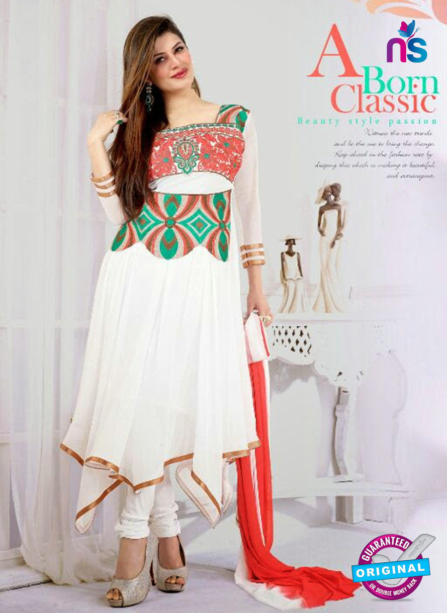 NS10036 White and Sea green Georgette Anarkali Suit