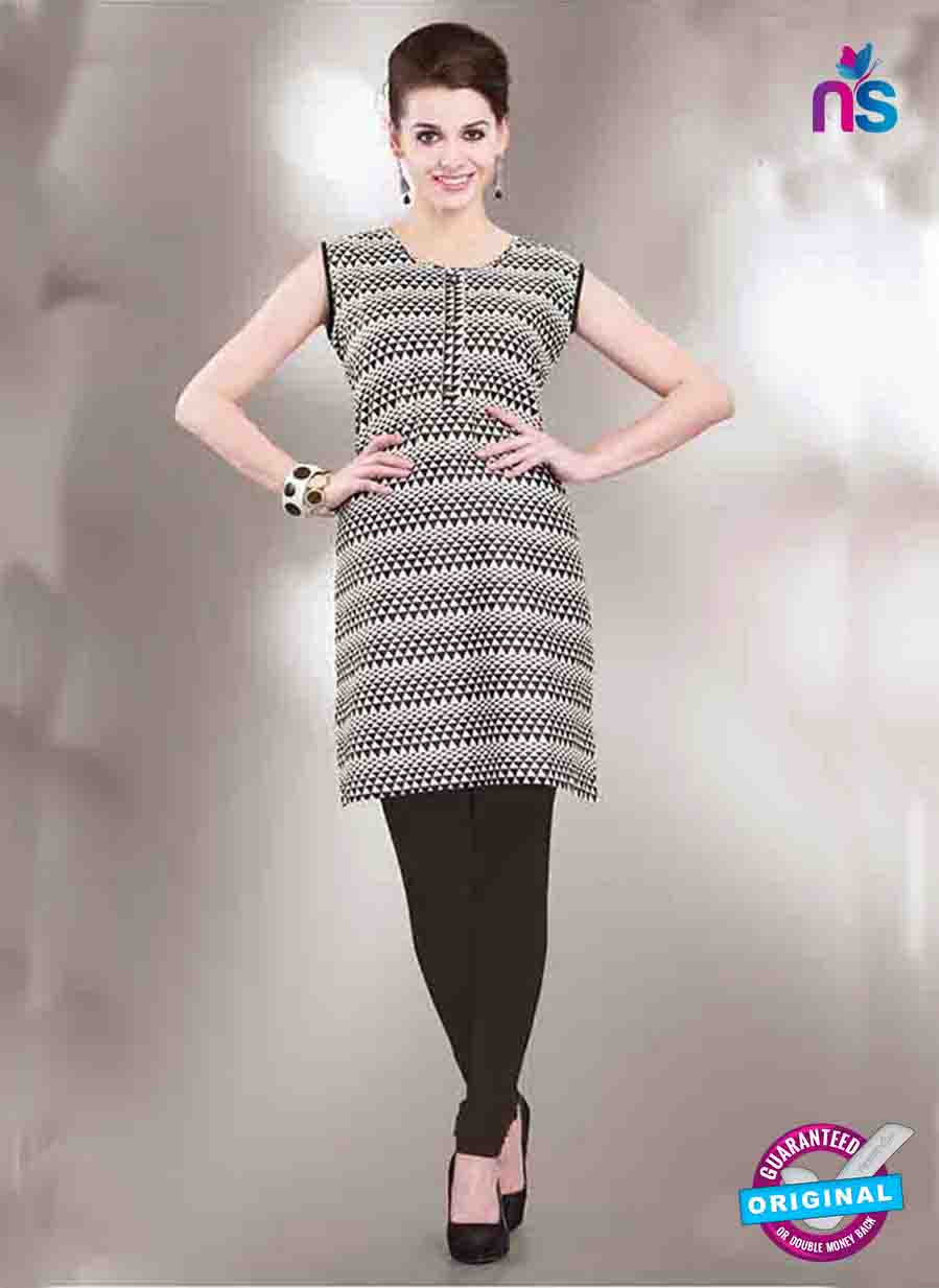 NS11151 B Black and White Designer Cotton Kurti