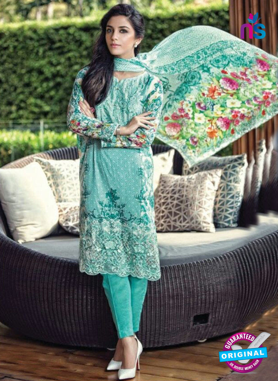 SC 12992 Sea Green and White Lawn Cotton Pakistani Suit