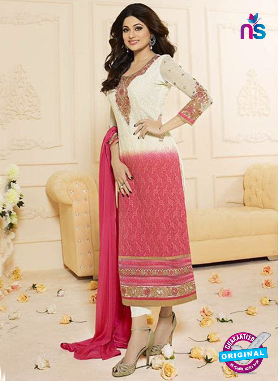Vivek Fashion 1004 White and Pink Georgette Designer Suit