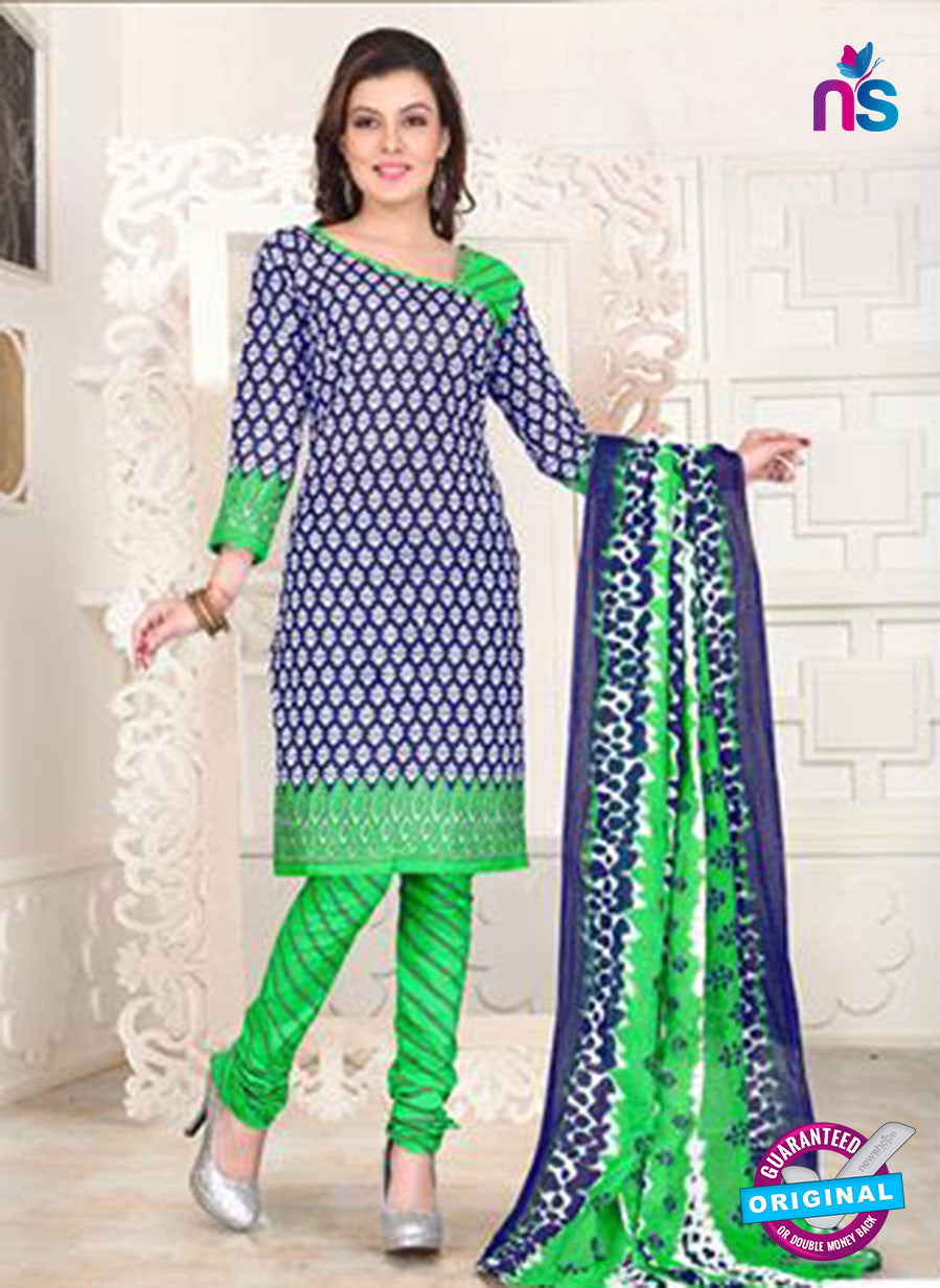 NS12091 Blue and Green Chudidar Suit