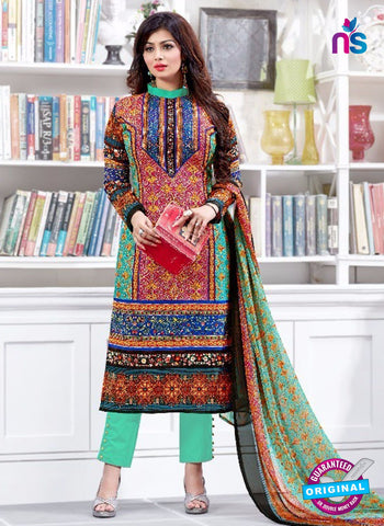 SC 13225 Pink Green and Blue Silk Crape Straight Suit