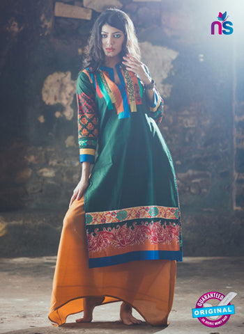 SC 13336 Green and Multicolor Cotton Lawn  Kurti