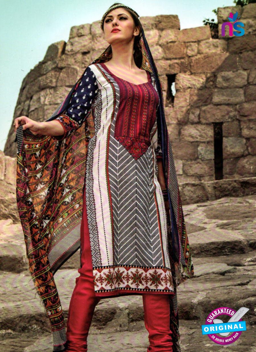 NS 124511 Multicolor and Red Printed Cotton Straight Suit