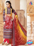 SC 13002 Yellow and Red Printed Cambric Cotton Straight Suit