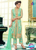 SC 13097 Sea Green and Beige Heavy Net Party Wear Semi-stitched Designer Suit