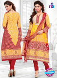 SC 12776 Yellow and Red Embroidered Pure Cambric Cotton Suit