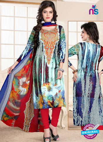 SC 13022 Multicolor and Red Printed Cambic Pakistani Suit