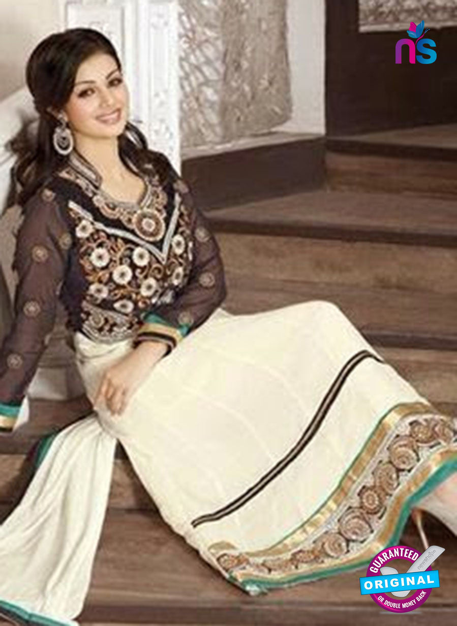NS10117 Brown and Ivory Georgette Anarkali Suit