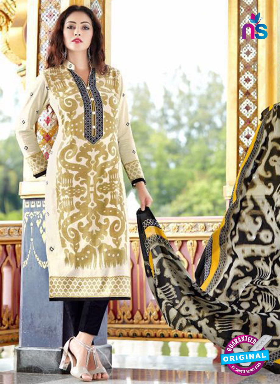 SC 13649 Beige and Black Printed Glace Satin Cotton Designer Fancy Ethnic Exclusive Salwar Straight Suit