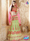 AZ 2005 Green and Red Net Embroidered Party Wear Lehenga