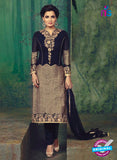 SC 12392 Blue and Beige Party Wear Embroidered Faux Georgette Designer Suit