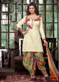 Deepsy 1004  White & Multicolor Glace Cotton Designer Suit