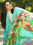 SC 13533 Sea Green and Multicolor Lawn Cotton Designer Traditional Un Stitched Pakistani Suit