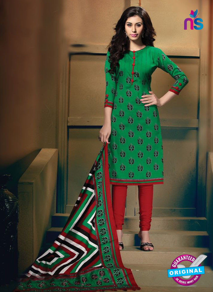 NS11194 Green and Red Daily Wear Heavy Banglori Printed Salwar Suit