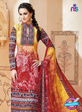 SC 13002 Yellow and Red Printed Cambric Cotton Straight Suit Online
