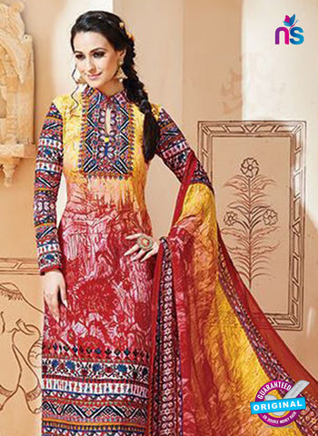 SC 13002 Multicolor and Red Printed Cambric Cotton Straight Suit