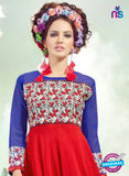 SC 12996 Blue and Red Embroidered Georgette Party Wear Kurti