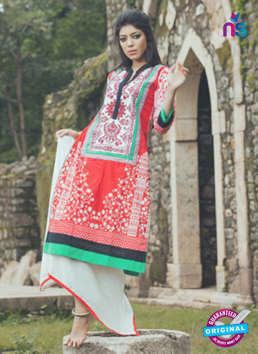 SC 13337 White and Red Cotton Lawn Kurti