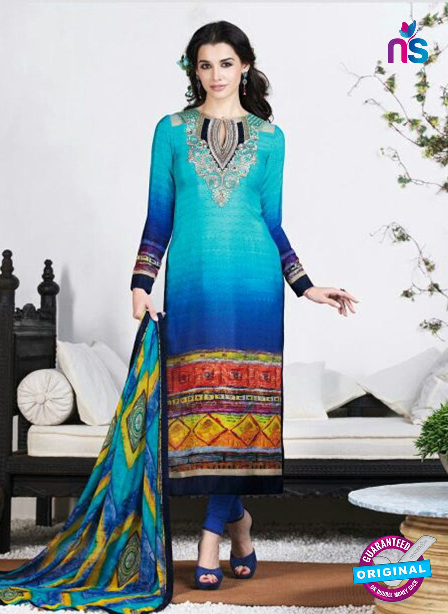 AZ 3493 Sky Blue French Crepe Embriodery Formal Suit - Salwar Suits - NEW SHOP