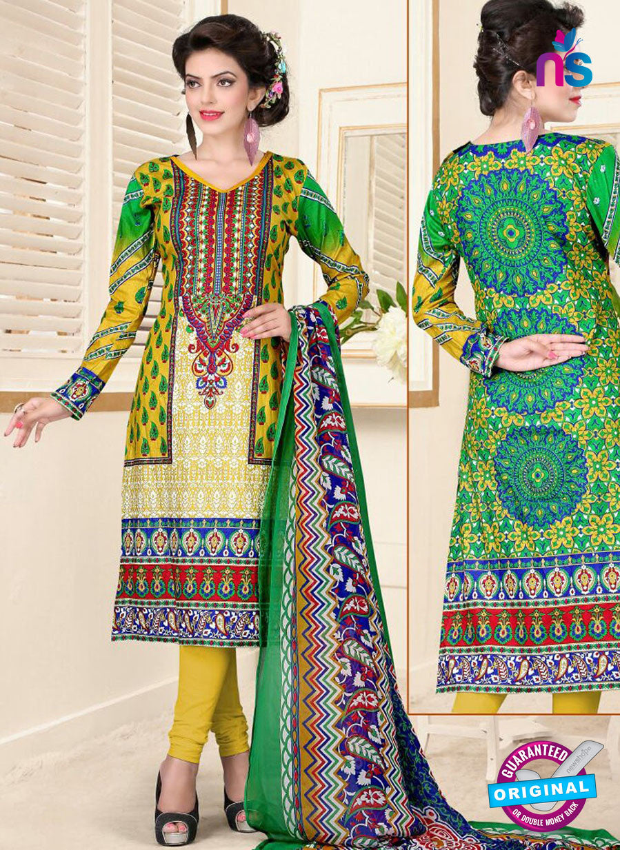 SC 13026 Multicolor and Yellow Printed Cambic Pakistani Suit