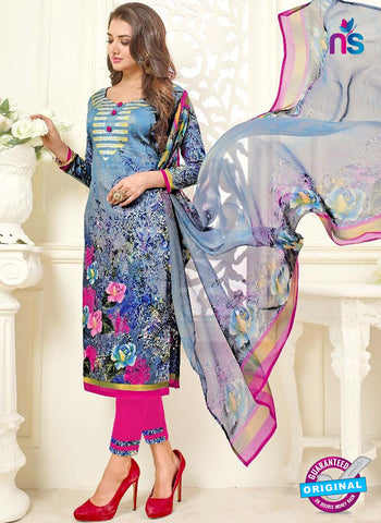 SC 42317 Blue Formal Cotton Suit