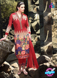 SC 12920 Red and Multicolor Faux Georgette Party Wear Straight Suit