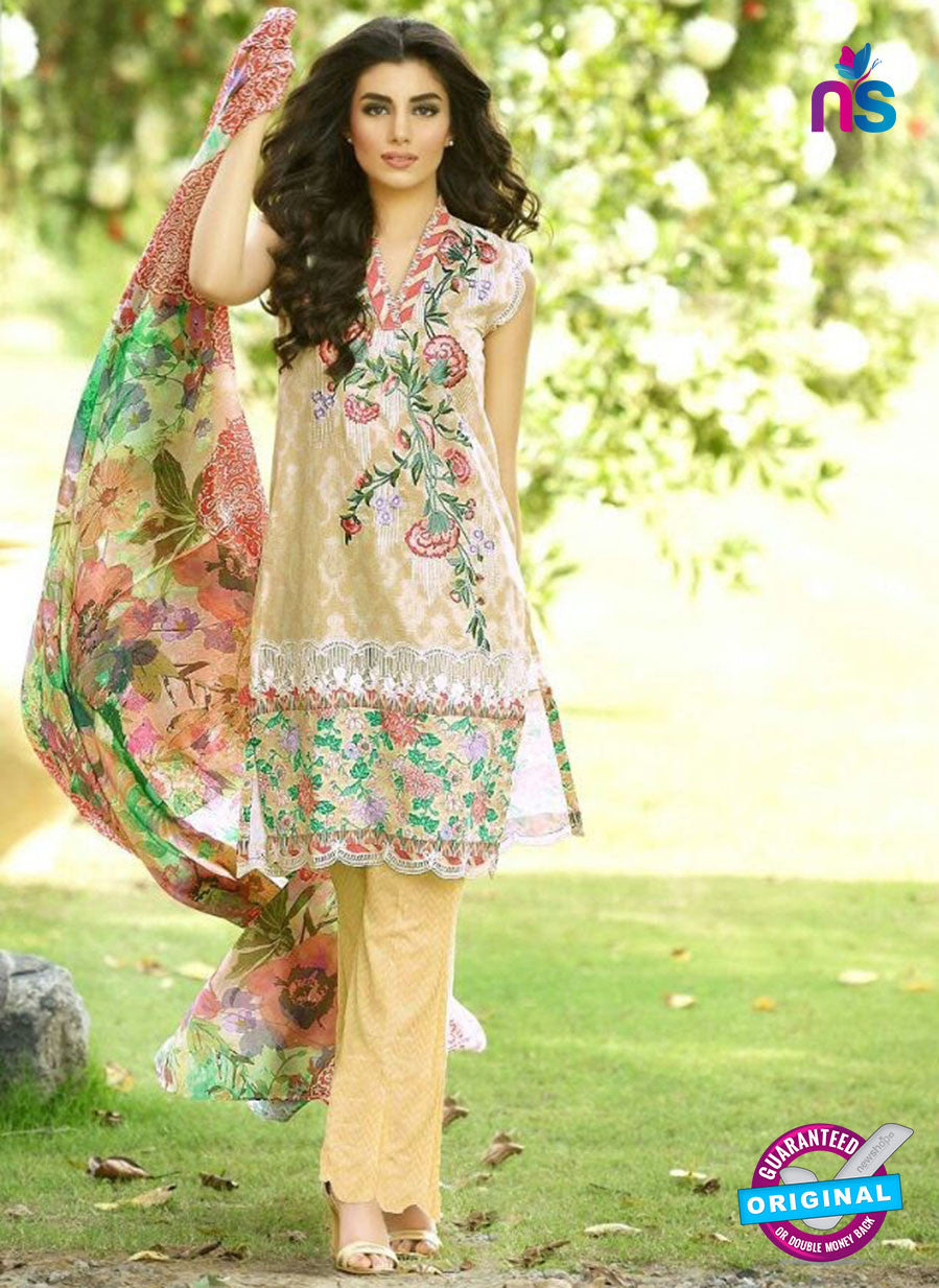 SC 13534 Beige and Multicolor Lawn Cotton Designer Traditional Un Stitched Pakistani Suit