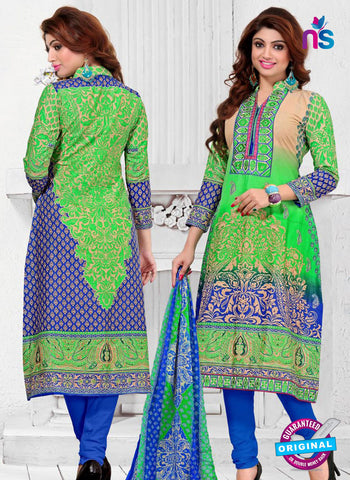 SC 12774 Green and Blue Embroidered Pure Cambric Cotton Suit