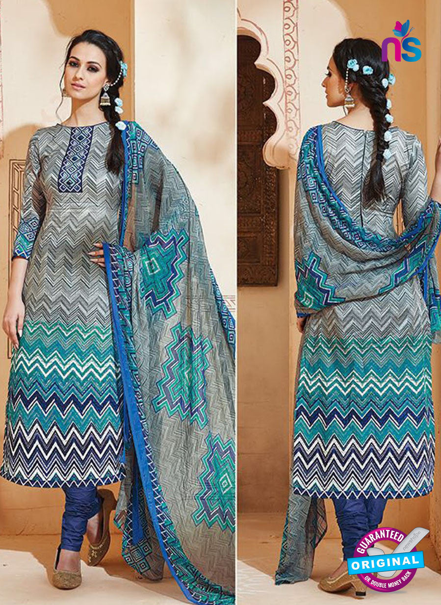 SC 13005 Grey and Blue Printed Cambric Cotton Straight Suit