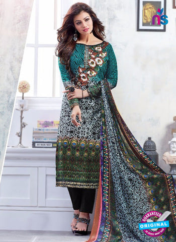 SC 13223 Black and Multicolor Silk Crape Straight Suit